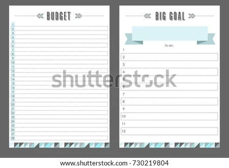 Notebook Template Habits Big Goal Vector Stock Photo (Photo, Vector