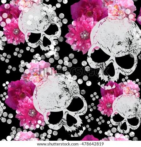 Fashion Cartoon Girl Wallpaper Girly Skullz Emo Skulls Pink Bows Stock Illustration
