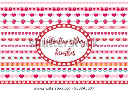 Valentines Day Borders Set Cute Heart Stock Vector (Royalty Free - 's day borders