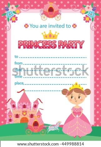 Princess Birthday Party Invitation Template Card Stock Vector - princess birthday invitation templates