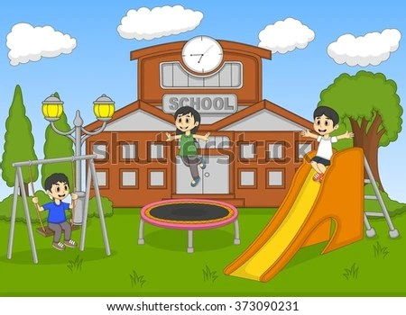 Children Playing Front Their School Cartoon Stock Illustration - cartoon children play