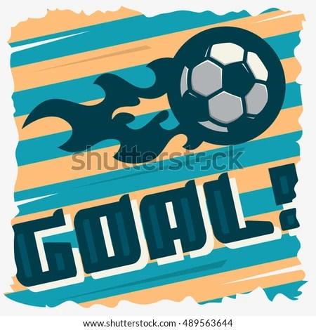 Football Goal Ball On Fire Soccer Stock Vector 489563644 - Shutterstock