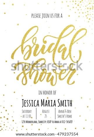 Bridal Shower Invitation Card Template Classic Stock Photo (Photo