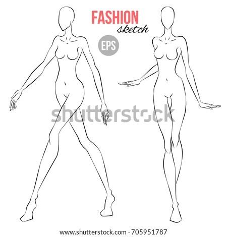Vector Outline Girl Model Template Fashion Stock Vector 705951787 - fashion template