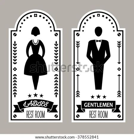 Bathroom Signs Vector ladies and gentlemen bathroom signs