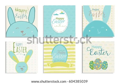 Colorful Happy Easter Greeting Card Rabbit Stock Vector 604384676