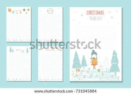 Christmas Holiday Do Lists Cute Notes Stock Vector 731045884
