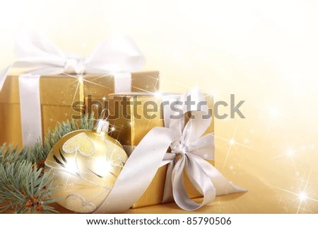 Christmas Gifts Golden Theme Stock Photo 85790506 - Shutterstock