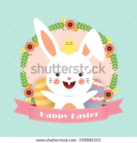 Easter Greeting Card Template Design Cute Stock Vector 598886507 - easter greeting card template