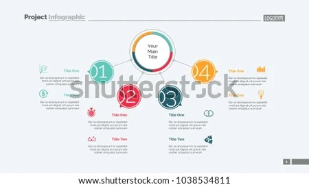 Four Points Process Chart Slide Template Stock Vector 1038534811