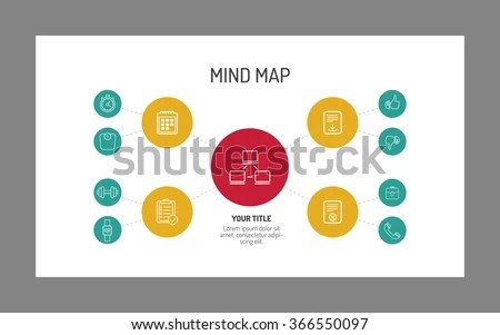 Two Level Mind Map Template Stock Photo (Photo, Vector, Illustration