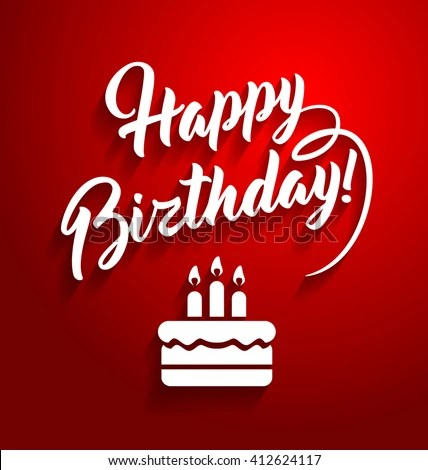 Happy Birthday Lettering Text On Red Stock Vector (Royalty Free