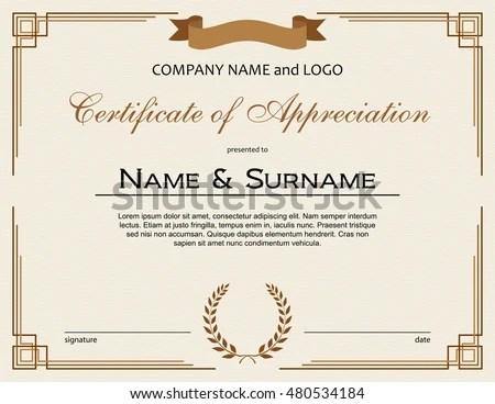 Certificate Appreciation Laurel Wreath Ribbon Stock Vector 480534184 - certificate of appreciation