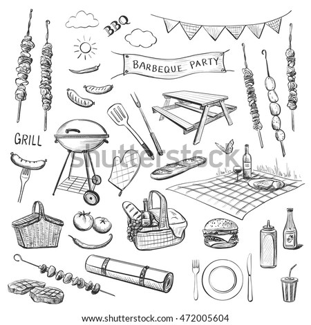 Vector Sketches On White Background Attributes Stock Vector - background sketches