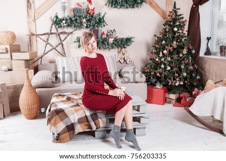 pregnant Near The Christmas Tree - beautiful decorated christmas trees