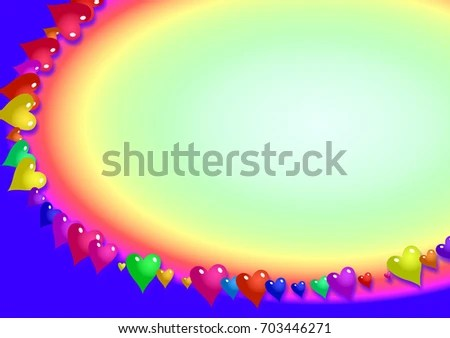 Romantic Rainbow Coloured Page Border Love Stock Illustration - rainbow page border