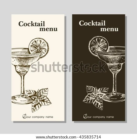 Cocktails Menu Card Design Template Menu Stock Vector 435835714Bar - sample drink menu template