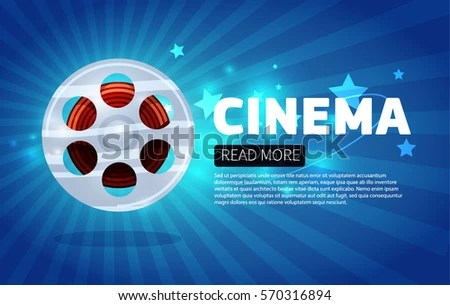 Cinema Background Banner Blue Movie Flyer Stock Vector (Royalty Free