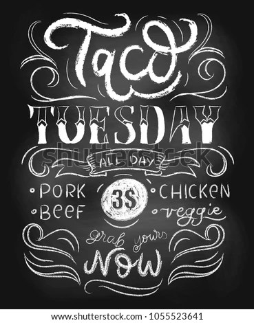 Taco Tuesday Chalkboard Vector Poster Lettering Stock Vector