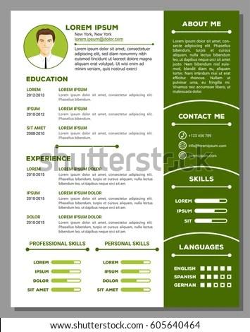 Vector Creative Minimalist Cv Resume Template Stock Vector 605640464