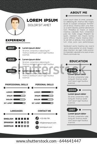 Resume Cv Vector Template Nice Minimalist Stock Vector 644641447
