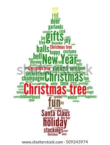Christmas Tree Word Cloud Concept Shape Stock Vector HD (Royalty - christmas tree words