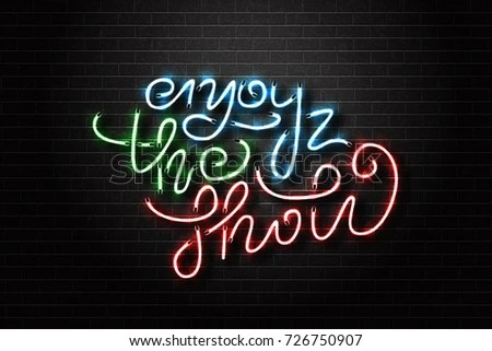 Vector Realistic Isolated Neon Sign Enjoy Stock Vector 726750907