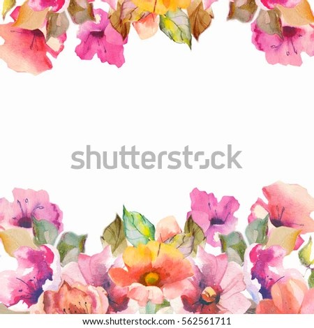 Orange Fall Peony Wallpaper Watercolor Flower Background Stock Images Royalty Free