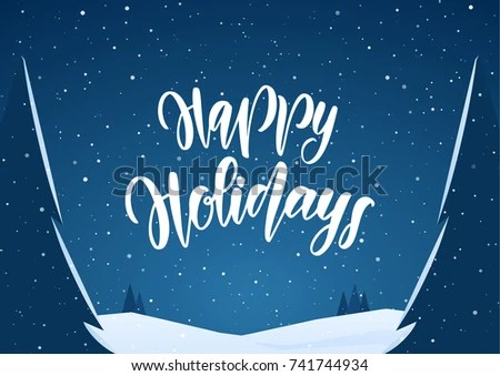 Vector Handwritten Lettering Happy Holidays On Stock Vector HD