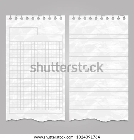 Wrinkled Ripped Lined Page Sheet Paper Stock Vector HD (Royalty Free - lined page