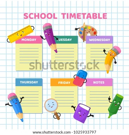 School Timetable Funny Cartoon Stationery Characters Stock