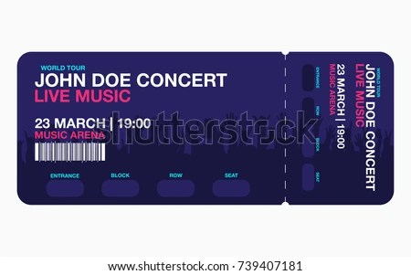 Concert Ticket Template Concert Party Festival Stock Vector HD - Concert Ticket Templates