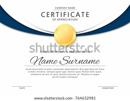 Certificate Template Elegant Black Blue Colors Stock Vector HD - gold medal templates
