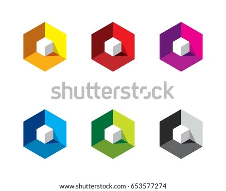 White 3 D 3 Dimensional Cube Inside Stock Vector (2018) 653577274