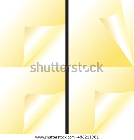Gold Paper Scroll Pages Curl Set Stock Vector 486211981 - Shutterstock - Culring Pajis