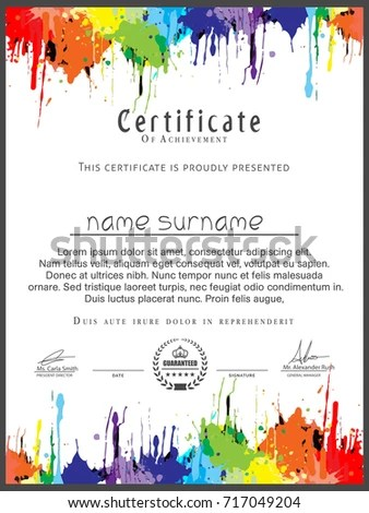 Nice Beautiful Art Certificate Design Templates Stock Vector