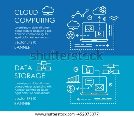 Line Art Web Banner Cloud Computing Stock Vector (Royalty Free - poster on line