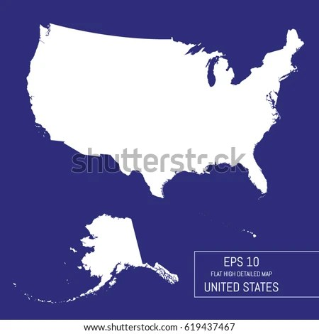 Flat High Detailed United States Map Stock Vector 619437467