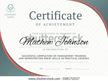 Certificate Achievement Template Design Business Diploma Stock