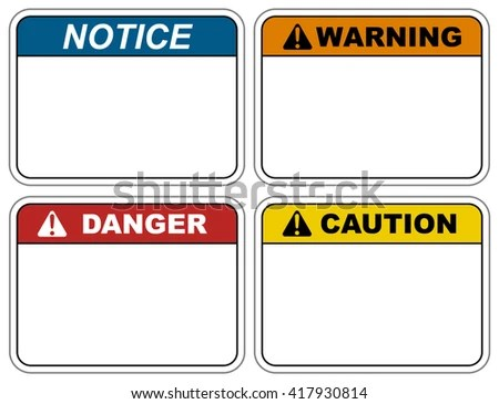 Industrial Safety Decal Vector Template Notice Stock Vector