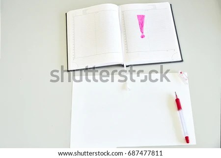 Sheet Paper Diary Red Pen On Stock Photo 687477811 - Shutterstock - horizontal writing paper