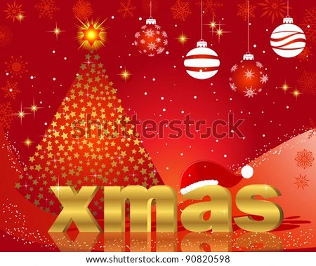 Christmas Cards Golden Word XMAS Christmas Stock Vector 90820598