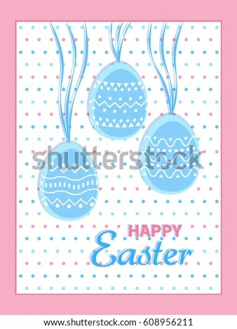 Happy Easter Greeting Card Eggs Stripes Stock Vector 608956211 - easter greeting card template