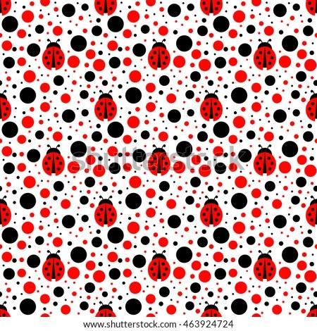 Cute Fruit Wallpaper Ladybug Seamless Pattern Stock Vector 463924724 Shutterstock