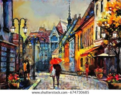 Oil Painting On Canvas Street View Stock Illustration 471735230 - Shutterstock