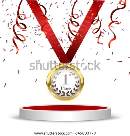 Podium Winner Gold Medal First Place Stock Vector 583136365 - first place award template