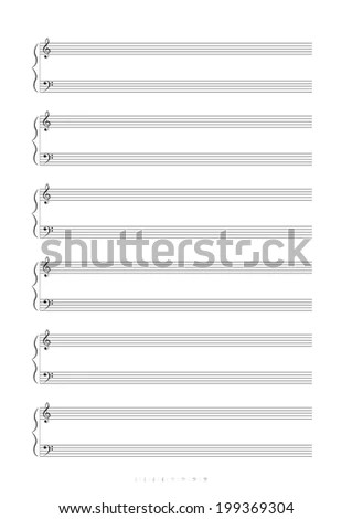 Blank A 4 Music Notes Treble Bass Stock Illustration 199369304