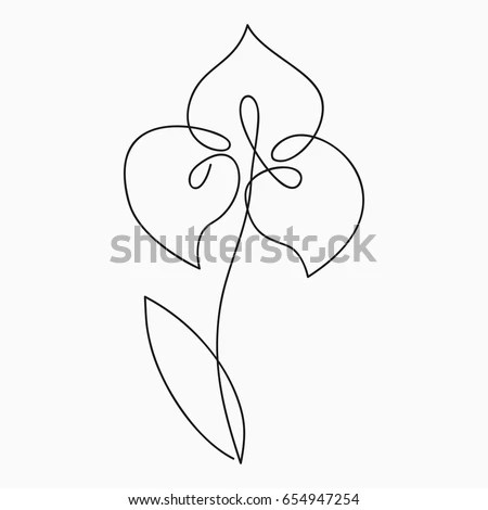 Iris One Line Drawing Continuous Line Stock Vector (Royalty Free - line drawing