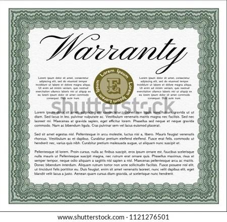 Green Formal Warranty Certificate Template Perfect Stock Vector - formal certificate template