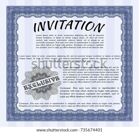 Blue Formal Invitation Template Quality Background Stock Vector